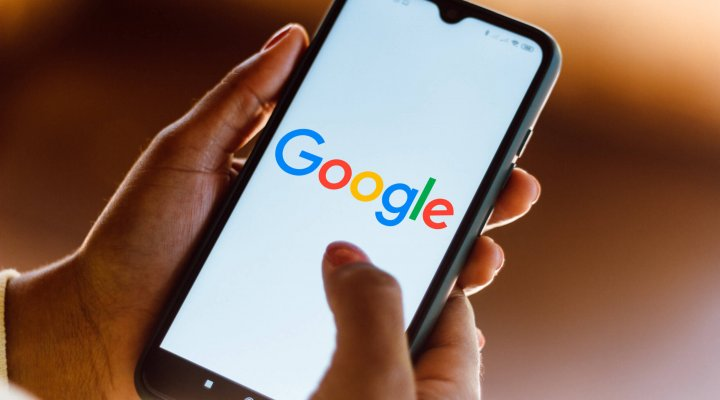 July 13, 2020, Brazil. In this photo illustration the Google logo seen displayed on a smartphone